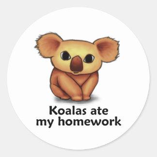 Koalas ate my Homework Round Stickers