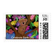 Koalas Celebrate Earth Day Postage Stamps