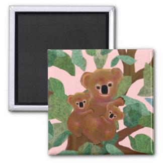 Koalas in the Eucalyptus 2 Inch Square Magnet