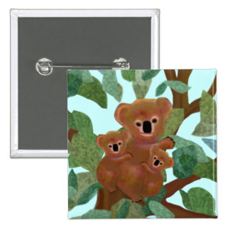 Koalas in the Eucalyptus 2 Inch Square Button