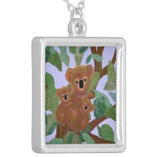 Koalas in the Eucalyptus Silver Necklace