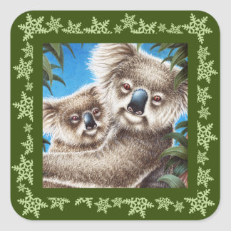 Koalas Snowflake Christmas Sticker