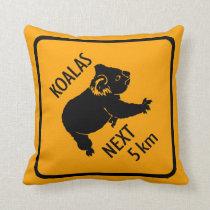 Koalas Warning Sign Throw Pillow