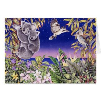 koalas y kookaburras tarjeta