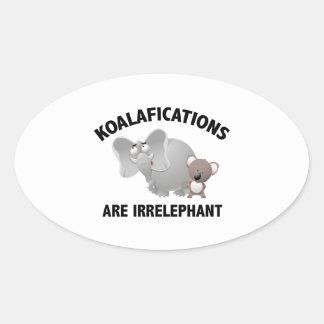 Koalifications Are Irrelephant Oval Sticker