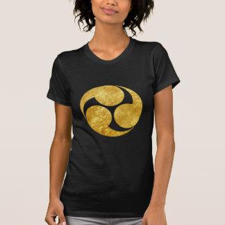 Kobayakawa Mon Japanese clan faux gold on black T-Shirt