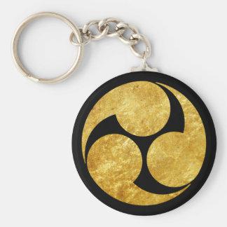 Kobayakawa Mon Japanese clan gold on black Basic Round Button Keychain