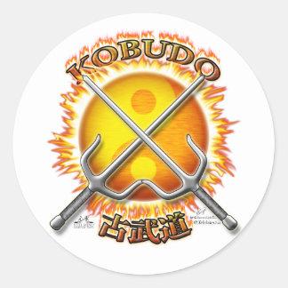 Kobudo Flaming Yin/Yang Sun Stickers