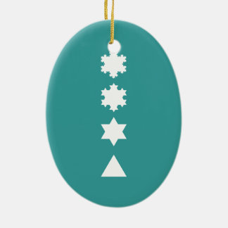 Koch Snowflakes Double-Sided Oval Ceramic Christmas Ornament
