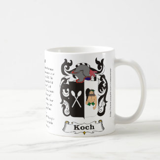 Koch, the origin, meaning and the crest coffee mug