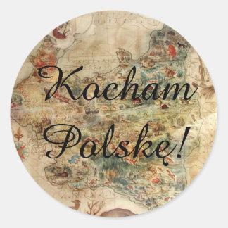 Kocham Polskę (I Love Poland) 1939 MAP OF POLAND Classic Round Sticker