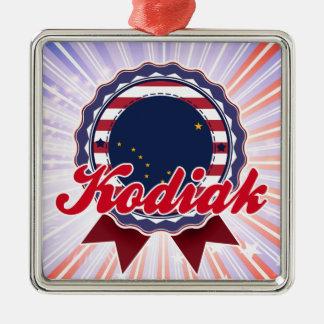 Kodiak, AK Square Metal Christmas Ornament
