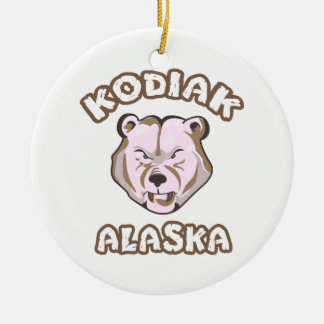 KODIAK ALASKA Double-Sided CERAMIC ROUND CHRISTMAS ORNAMENT