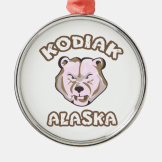 KODIAK ALASKA ROUND METAL CHRISTMAS ORNAMENT
