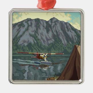 Kodiak, AlaskaBush Plane Fishing Square Metal Christmas Ornament