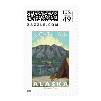 Kodiak, AlaskaBush Plane Fishing Postage Stamp