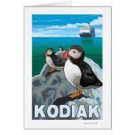 Kodiak, AlaskaPuffins and Alaskan Cruise Ship Greeting Card