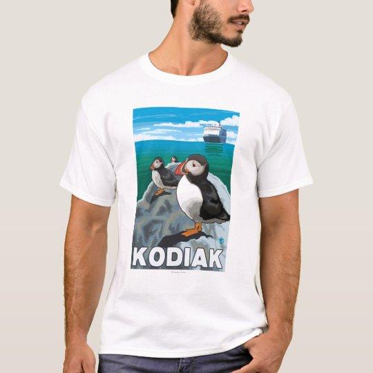 Kodiak, AlaskaPuffins and Alaskan Cruise Ship T-Shirt