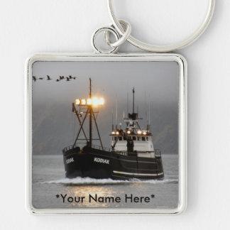 Kodiak, barco del cangrejo en el puerto holandés,  llavero cuadrado plateado
