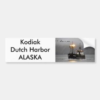 Kodiak, barco del cangrejo en el puerto holandés,  pegatina para auto