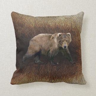 Kodiak Bear On Caribou Fur Throw Pillow