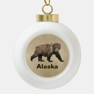Kodiak Bear Ceramic Ball Christmas Ornament