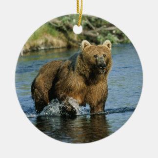 Kodiak Bear Double-Sided Ceramic Round Christmas Ornament