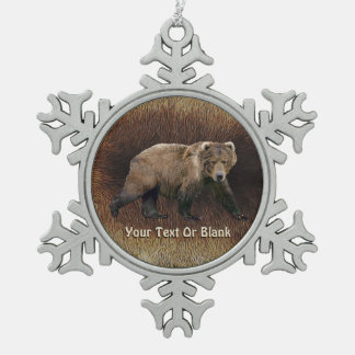 Kodiak Bear Snowflake Pewter Christmas Ornament