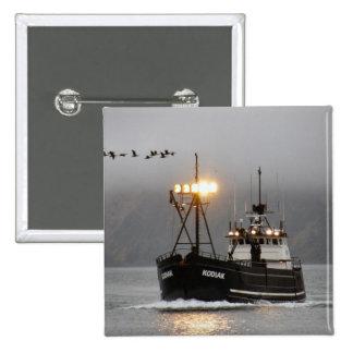 Kodiak, Crab Boat in Dutch Harbor, Alaska Pinback Buttons