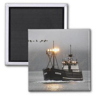 Kodiak, Crab Boat in Dutch Harbor, Alaska 2 Inch Square Magnet
