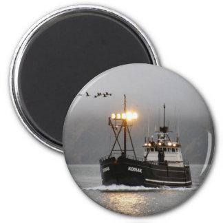 Kodiak, Crab Boat in Dutch Harbor, Alaska 2 Inch Round Magnet