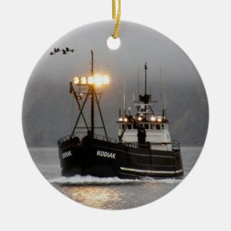 Kodiak, Crab Boat in Dutch Harbor, Alaska Double-Sided Ceramic Round Christmas Ornament