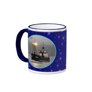 Kodiak, Crab Boat in Dutch Harbor, Alaska Ringer Mug