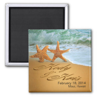 Kody & Kris Starfish Couple NAMES IN THE SAND Magnet