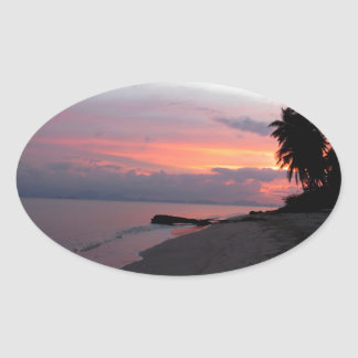 Koh Samui Ocean Sunset in Thailand Oval Sticker