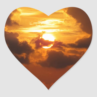 Koh Samui Sunrise in Thailand Heart Sticker