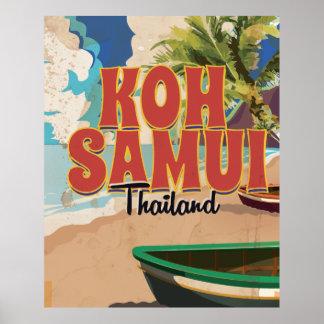 Koh Samui, Thailand Vintage Travel Poster.