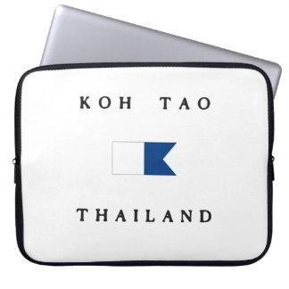 Koh Tao Thailand Alpha Dive Flag Computer Sleeve