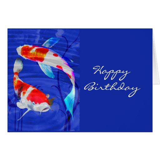 Kohaku Duo in Deep Blue Pond Greeting Cards