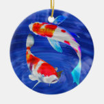 Kohaku Duo in Deep Blue Pond Double-Sided Ceramic Round Christmas Ornament