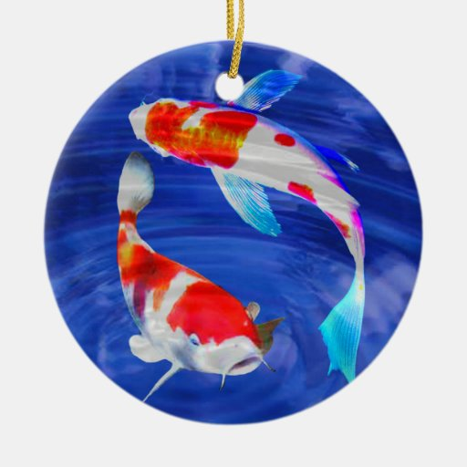 Kohaku duo in deep blue pond ornaments zazzle Pond ornaments