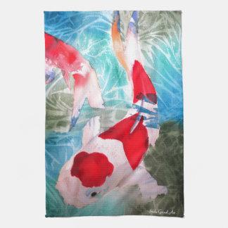 Kohaku Koi 2 Japanese watercolor fish art Hand Towel