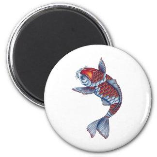 Kohaku Koi Fish 2 Inch Round Magnet