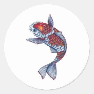 Kohaku Koi Fish Classic Round Sticker