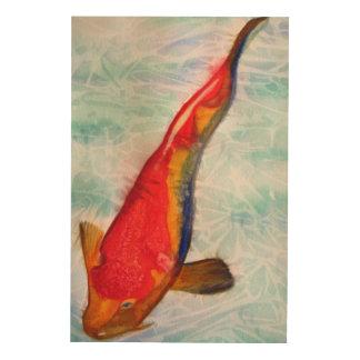 Kohaku Koi fish original watercolor art Wood Print