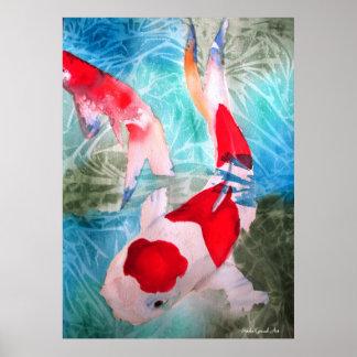 Kohaku Koi II fish watercolor original art Posters