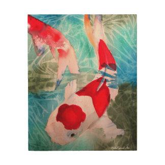 Kohaku Koi II Japanese fish watercolor art Wood Prints