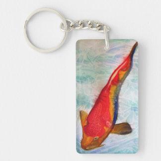 Kohaku Koi Japanese fish watercolor painting art Single-Sided Rectangular Acrylic Keychain