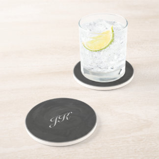 Kohl Black Monogram Personalized Sandstone Coaster