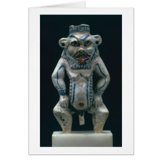 Kohl pot in the form of the god Bes, New Kingdom, Card